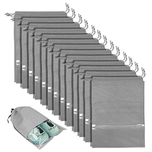 BUYGOO 12PCS Travel Shoe Bags Waterproof Non-Woven Storage With Rope for Men and Women Large Shoes Pouch Packing Organizers - 17.3' X 12.6' (Grey)