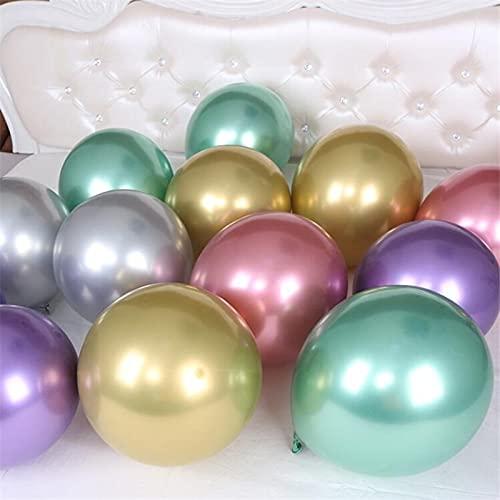 SSCXH Magic Long Glossy Metal Latex Balloons 10inch Thick Chrome Metallic Colors Air Balls Birthday Party Decor(10inch Metal Mix,50pcs)