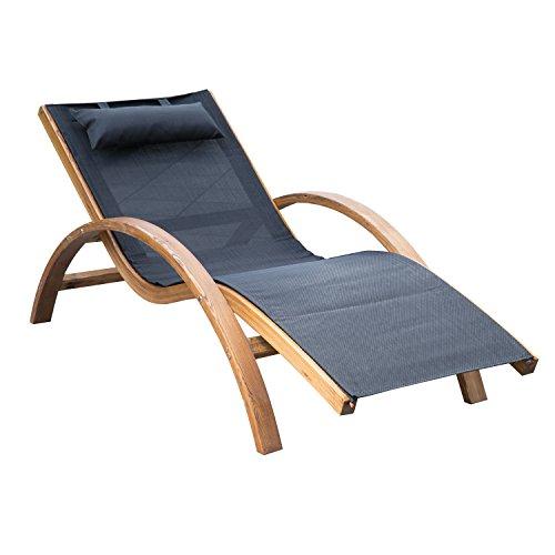 Outsunny Liegestuhl Sonnenliege Gartenliege Lounge Relaxliege Relaxsessel (Modell 2/Schwarz)