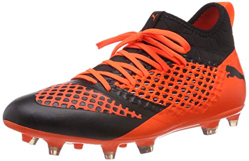 PUMA Future 2.3 Netfit FG/AG, Zapatillas de Fútbol para Hombre, Negro Black-Shocking Orange 02, 40.5 EU