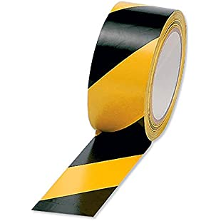 5 Star Office Hazard Tape Soft PVC Internal Use (Adhesive 50mmx33m (Black and Yellow) Pack of 6