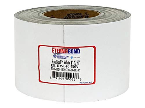 EternaBond RoofSeal White 4' x50' MicroSealant UV Stable Seam Repair Tape | 35 mil Total Thickness | EB-RW040-50R - One-Step Durable, Waterproof and Airtight Repair