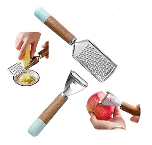 Eastor Sparschäler Set 2-teiliges Gemischtes, Reibe, Apfel und Kartoffelschäler, Edelstahlklinge, spülmaschinengeeignet