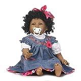 LULU 55 cm Schwarz Prinzessin Puppen Weiche Silikon Ganzkörper Reborn Babypuppe Neugeborenen...