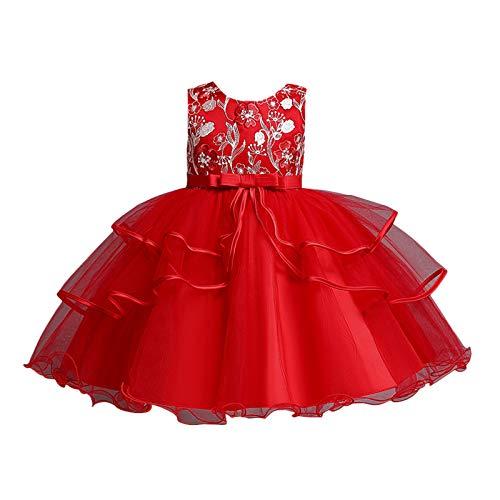 BOIYI Retro Disfraz de Princesa Chicas Fancy Vestido Princesa Flor Desfile de Nios Vestido de Cosplay de Carnaval, Halloween y la Fiesta de Cumpleaos Vestidos Vestido de Fiesta(Rojo,130)