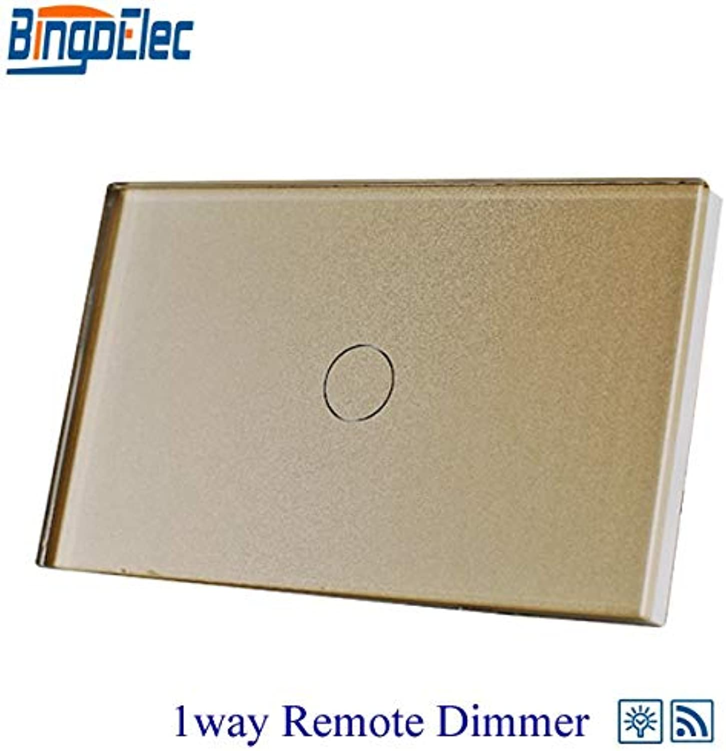 Bingoelec gold Glass Panel RF433 Remote Switch, 1gang 1way Touch Remote Dimmer Switch for Light,110220V,AU US Standard  (color  gold118)