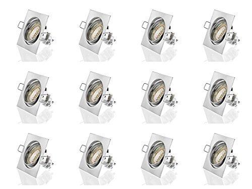 sweet led® 12 Stück x Einbaustrahler Set Led GU10 3W Warmweiß 230V Einbau Rahmen schwenkbar Einbauleuchten Einbaulampen