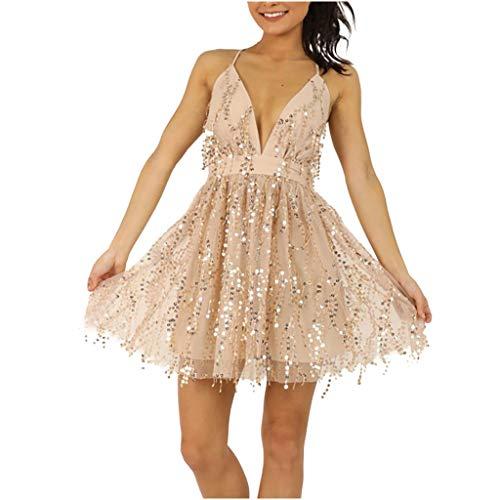 ZHANSANFM Paillettenkleid Damen Sexy Schlinge Glänzend Quaste Partykleid Abendkleid Ballkleid V-Ausschnitt Cocktailkleid Elegante Kurz Wild Minikleid Ballkleider (S, Beige)
