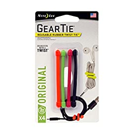"Nite Ize GT3-4PK-A1 Original Gear, Reusable Rubber Twist Tie, Made in The USA, 3-Inch, 3"" - 4-Pack, Assorted Colors, 4 Count 3 REUSABLE RUBBER TWIST TIES - Flexible, reusable Gear Ties have a tough rubber exterior that provides excellent grip and a strong, bendable wire interior to hold their shape making them endlessly reusable and useful AVAILABLE IN A VARIETY OF COLORS + SIZES FOR ALL YOUR WRAPPING, BUNDLING, + ORGANIZING NEEDS - The 3"" size is perfect for wrapping cords and headphones, shoring up plant stems, color coding, and other small organizational tasks TWIST IT, TIE IT, REUSE IT - No more need for single-use cable ties or zip ties, these Reusable Rubber Twist Ties can be used over and over again to organize cords, wrap headphones, and for endless other tasks at home, in the office, or on the job site"
