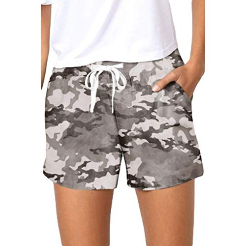 Pantaloncini in Vita Elastica con Coulisse Mimetica Casual da Donna Pantaloncini Sportivi da Esterno a Vita Alta a Vita Alta con Tasche 3X-Large