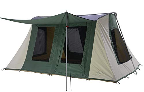 WHITEDUCK PROTA Deluxe Canvas Cabin Tent – Waterproof, 4 Season Outdoor Camping Tent Made from Premium 100% Cotton Canvas w/Reflective Sunblock Roof, Mesh & Extra-Wide Doors (10' x 14' Olive)