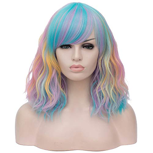 BERON Women's Bob Curly Rainbow Wig with Bangs Halloween Cosplay Wig Daily Use Synthetic Wigs (Colorful)