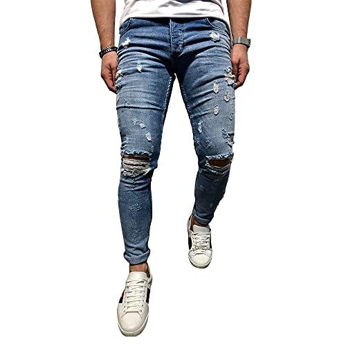 BMEIG Jeans Hombres Rotos Slim Fit Ripped Estiramiento...