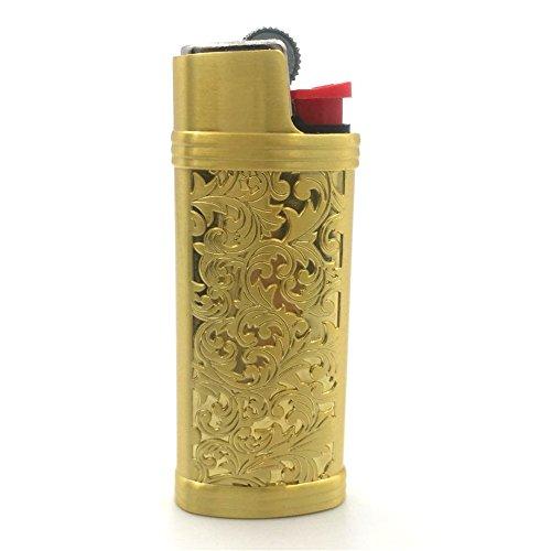cigarette cases with bic lighters Lucklybestseller Gold Color Vintage Metal Lighter Case Cover Holder for Mini BIC Lighter J5