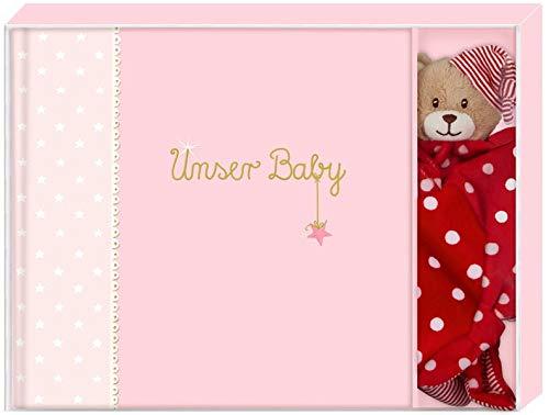 Geschenkset - BabyGlück - Unser Baby (rosa): Erinnerungsalbum mit Schnuffeltuch (Alben & Geschenke fürs Baby)