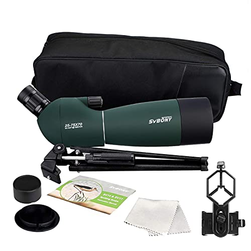 SVBONY SV28 Spotting Scopes with Tripod,Hunting,25-75x70,Angled,Waterproof,Range Shooting Scope,with Phone Adapter,Compact, High Power,for Target Shooting,Bird Watching,Stargazing,Wildlife Viewing