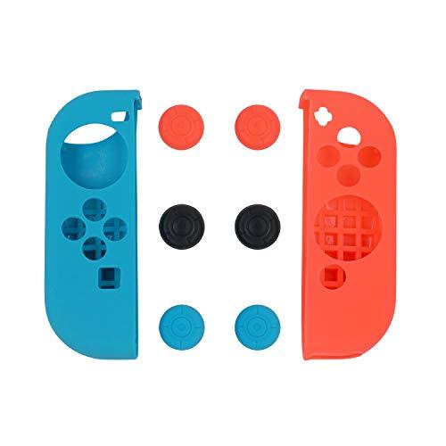 Mcbazel Funda protectora de silicona azul y roja con 3 juegos de gorros para el pulgar para el controlador Joy-Con del interruptor NS