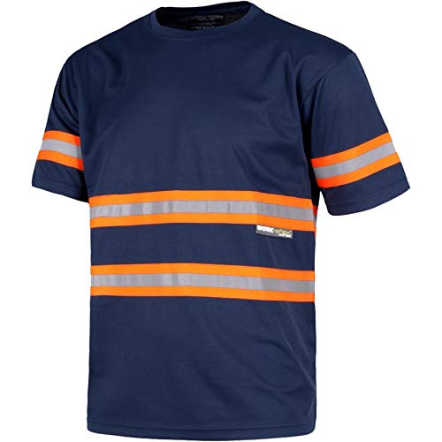 Work Team Camiseta Manga Corta, Cuello Redondo, Cintas Reflectantes combinadas. Hombre Marino+Naranja A.V. 3XL