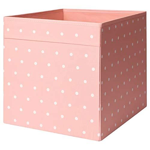 DRÖNA IKEA Aufbwahrungsbox für Kallax Regale Box Fach Kiste 33x38x33 cm (Punkte orangerosa)