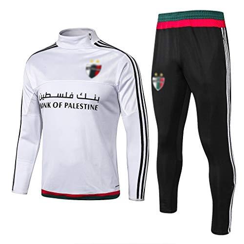 CLL-mls Europa de fútbol Club de fútbol de los Hombres de la Camiseta de Manga Larga Primavera y el otoño Uniforme Transpirable Ropa de Deporte Formación Blanca (Top Pantalones +) -ZQY-A0567