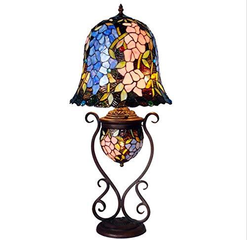 AWCVB Lámpara De Mesa De Estilo Tiffany Lámpara De Cristal De Color Meta Metal Wisteria Floral Patry Pattern Lámpara De Mesa Decorativa