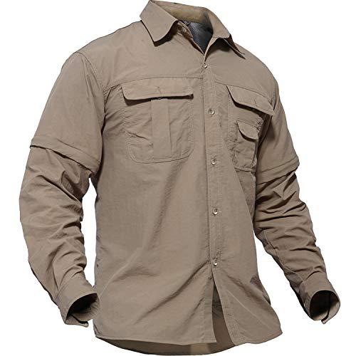 TACVASEN カジュアル シャツ 長袖 メンズ シャツ ボタンダウン スポーツ ロングスリーブ 半袖可能 カーキ M