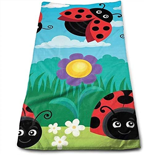 Ladybug Landscape Hand Popularity Towels Max 58% OFF Microfiber Face Soft Towel Kitchen