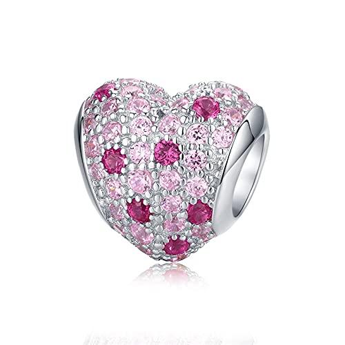 100% Plata De Ley 925 Cuentas De Flor De Ciruelo Flor Colorida Circón Rosa Charm Fit Pulsera DIY Mujer Fabricación De Joyas D7