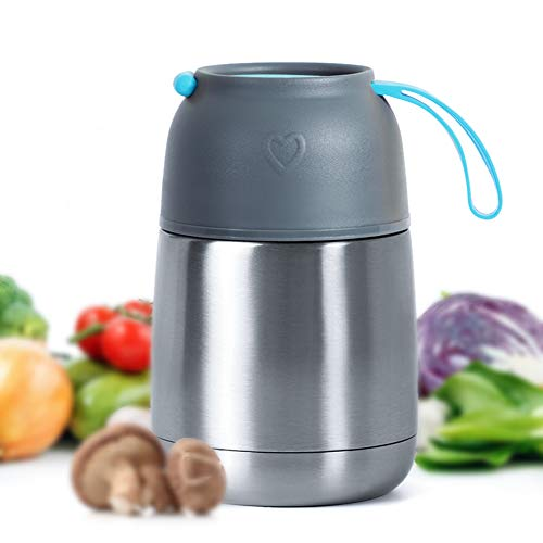 MUHOO Thermobehälter Speisebehälter Lunchbox Edelstahl Isolierbehälter Speisebehälter Speisegefäß BPA freier Essensbehälter für Essen und Flüssigkeiten 450ml (Blau)