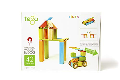 42 Piece Tegu Magnetic Wooden Block Set, Tints