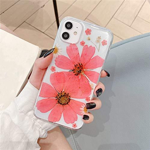 AAA&LIU Real Dry Flower Phone Case para iPhone 11 12 Pro MAX X XR XS MAX Transparente Soft TPU Contraportada a Prueba de Golpes para iPhone 7 8 Plus, T1, para iPhone 11 Pro