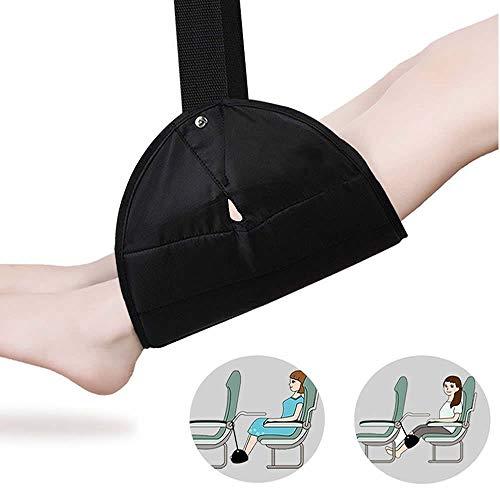 Tragbare Fußstütze, Meiso Reise-Fußstütze, Flugzeug, Fuß-Hängematte, Flugzeug, tragbar, Fußstütze, verstellbare Büro-Fußstütze – Flugzeug-Reise-Zubehör (schwarz)