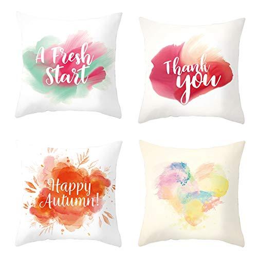 AmDxD Juego de 4 fundas de almohada de poliéster, 45 x 45 cm, fundas de almohada cuadradas, fundas de almohada con forma de corazón, rojo, naranja, amarillo y verde