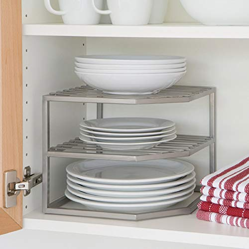 Seville Classics 2-Tier Corner Shelf Counter and Cabinet Organizer, Platinum
