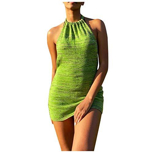 Women's Sleeveless Halter Neck Casual Dress Halter Strap Knitted Dress Slim Sexy Summer Short Dresses