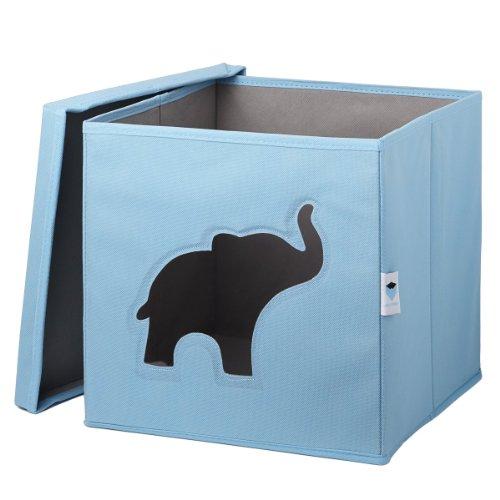 STORE.IT Spielzeugkiste mit Sichtfenster | Elefant | 30x30x30cm | blau