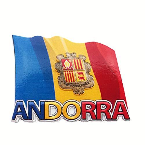 Hqiyaols Souvenir Pequeño país Europeo Bandera de Andorra Emblema Nacional Refrigerador 3D Nevera Imán Pegatina Viajes Ciudad Colección Regalos Cocina Resina