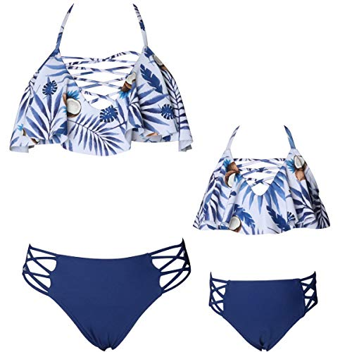 Mommy and Me Swimsuits Two Piece Bikini Swimsuit Family Matching Bathing Suits High Waisted Navy 3T