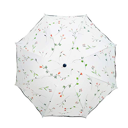 Maibar Taschenschirme Sonnenschirme UV Schutz Regenschirme Damen Triple Beweis Begonie Sonnenschirm Leicht Pink Winddicht 8 Knochen Taschenschirme für Frauen (Weiß)