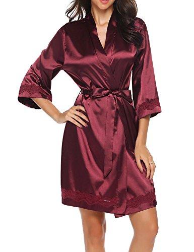 UNibelle Kimono Damen Morgenmantel Satin Kurz Bademantel Seide Roben Nachthemd V Ausschnitt Mit Blumenspitze WeinRot-L