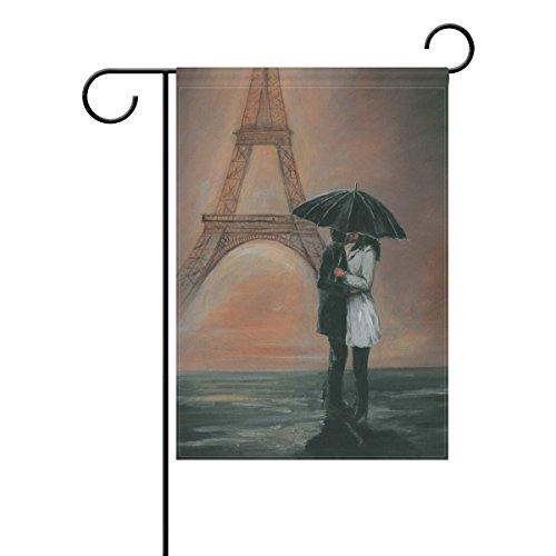 LIANCHENYI Kissing Paris Eiffelturm doppelseitig Familie Flagge Polyester Outdoor Flagge Home Party Decro Garten Flagge 30,5x 45,7cm