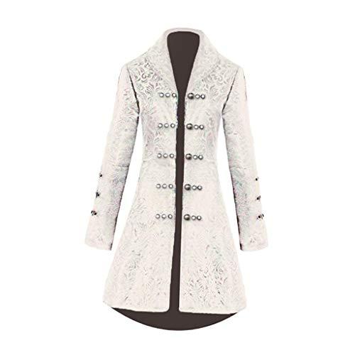 sharprepublic Damen Gothic Langer Jacke Steampunk Jacquard Gothic Vintage Jacke Kleid Kostüm viktorianischen Gehrock - Weiß M, M