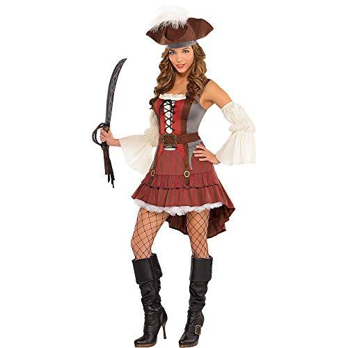 amscan 844604-55 Disfraz de pirata para mujer con sombrero y mangas-Talla 8-10-1 PC