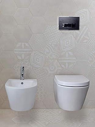 Foto di Yellowshop-Sanitari Bagno Sospesi Filo Muro Modello Oasy Vaso Wc + Coprivaso Soft Close + Bidet