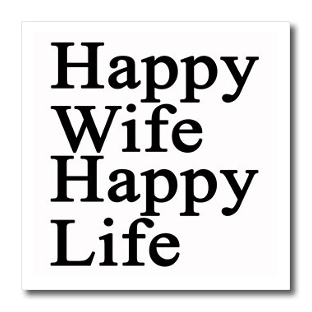 3dRose ht_218585_1 Happy Wife Happy Life Black Iron on Heat Transfer White Material, 8