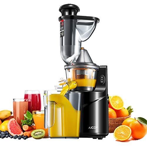 Extracteur de Jus, Aicok Slow Juicer Presse à Froid de fruits et légumes avec 75 MM de Large Bouche, Moteur Silencieux, Nettoyage à un Bouton Fonction, Vertical&Compact, Sans BPA, Tasse à Jus/Brosse