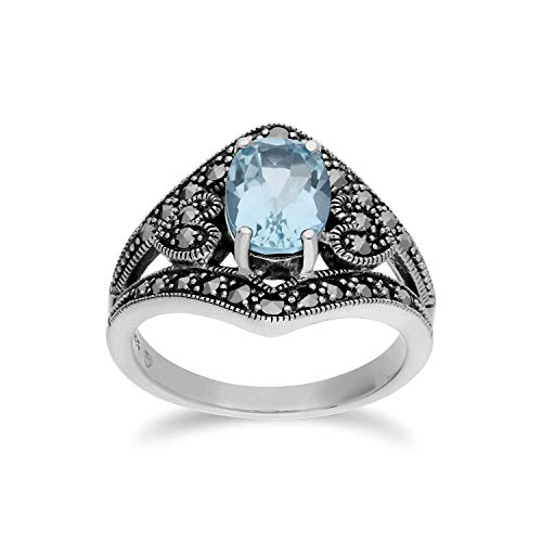 Gemondo Topas Ring, Sterling Silber Blauer Topas & Markasit Oval Jugendstil Ring - Topas