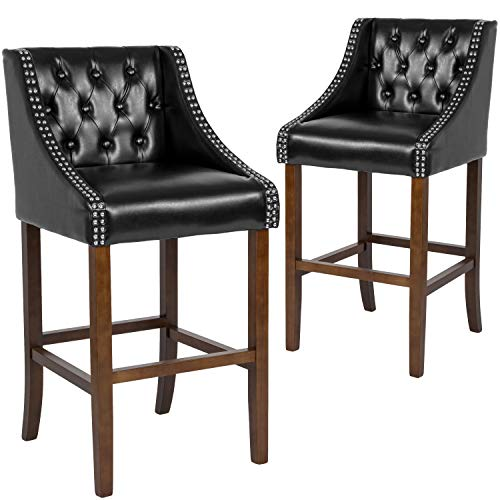 Taylor + Logan 30 Inch High Transitional Tufted Walnut Barstool with Accent Nail Trim, Set of 2, Black Leather