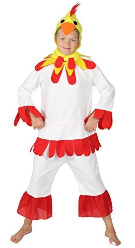 Foxxeo Kostüm Huhnkostüm Hühnerkostüm Huhn Hahn für Kinder weiß Kinderkostüm Größe 122-128