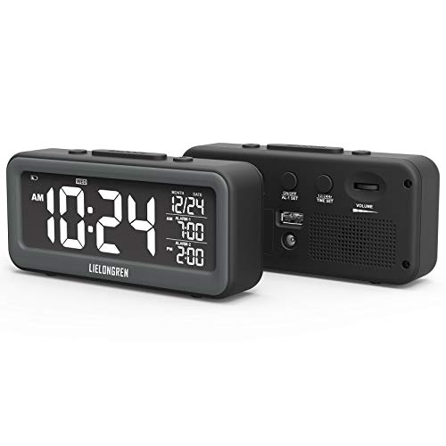 Small Digital Alarm Clock with USB Charger, 95dB Loud Alarm, Dimmable LED Backlight, Dual Alarm Clocks with Battery Backup for Heavy Sleeper